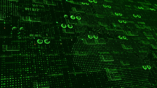 Hud e elementos de texto infográfico dados digitais abstraem base para tecnologia e conceito futurista