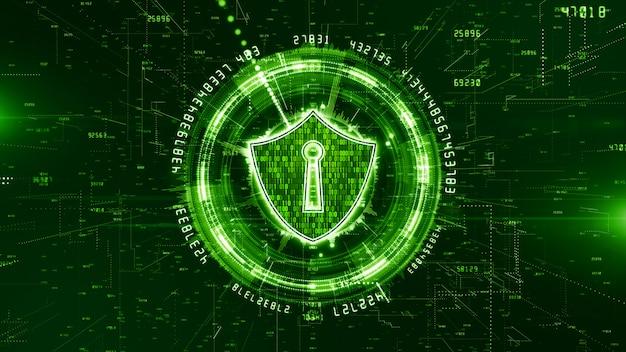 Hud e escudo ícone de segurança cibernética fundo