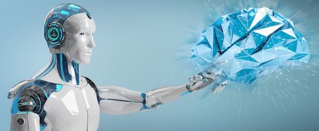 Humanóide de homem branco criando inteligência artificial renderização em 3d