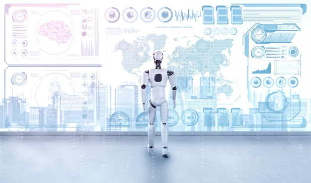 Humanóide robô analisando big data usando o cérebro pensante de ia
