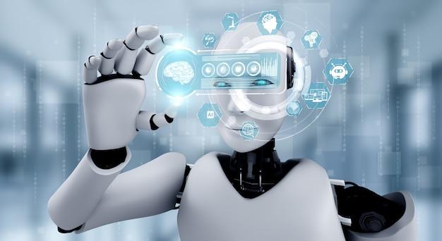 Humanóide robô segura tela de holograma hud no conceito de cérebro pensante de ia