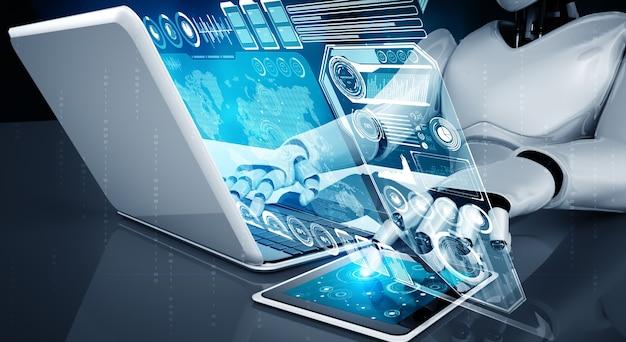 Humanóide robô usa laptop e sente-se à mesa para análise de big data