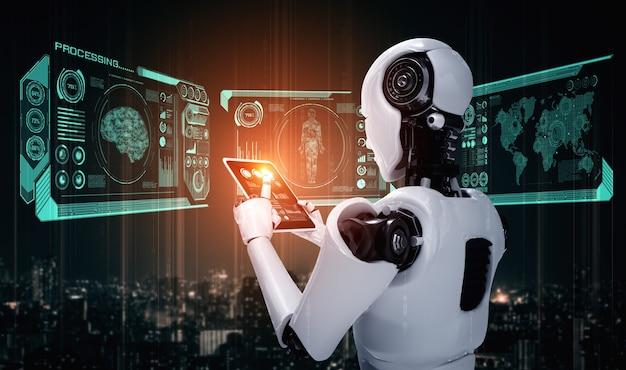 Humanóide robô usando computador tablet no conceito de cérebro pensante de ia