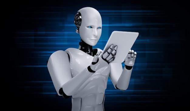 Humanóide robô usando computador tablet no futuro escritório