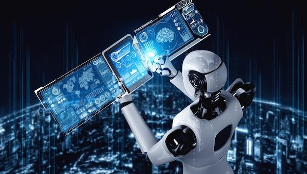 Humanóide robô usando computador tablet para análise de big data usando ia pensando brai