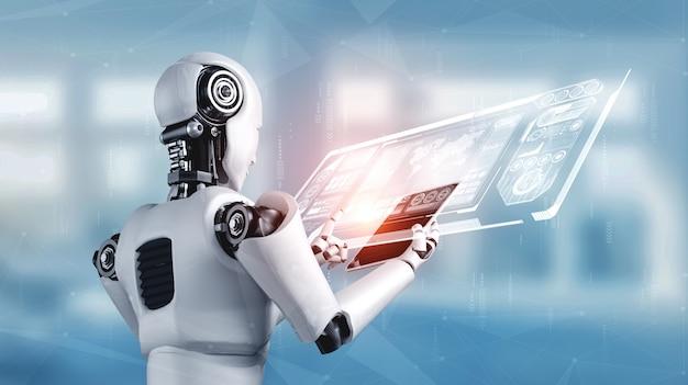 Humanóide robô usando computador tablet para análise de big data