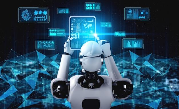 Humanóide robô usando computador tablet para conexão de rede global