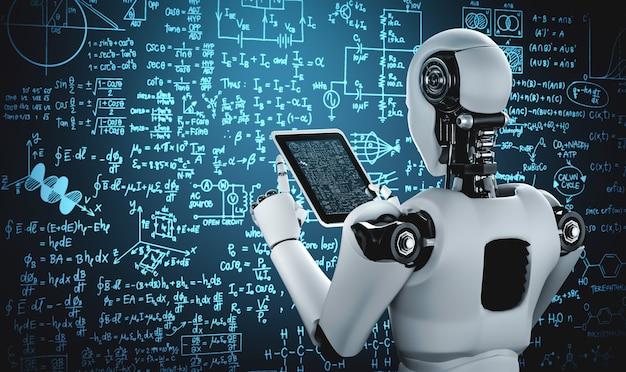 Humanóide robô usando computador tablet para estudar ciências de engenharia