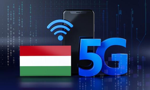 Hungria pronta para o conceito de conexão 5g. fundo de tecnologia de smartphone de renderização 3d