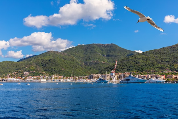 Iates e a costa do mar adriático, área de kotor, montenegro.