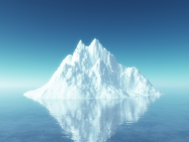 Iceberg 3d no oceano azul