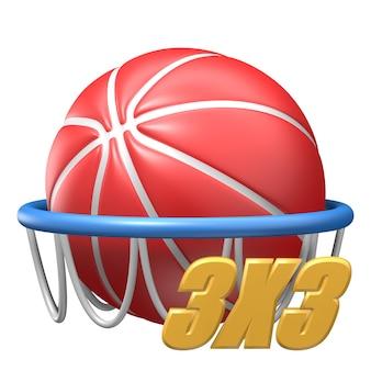 Ícone 3d de equipamentos esportivos de basquete 3x3