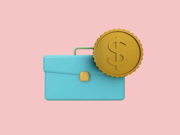 Ícone 3d de negócios em fundo de cor pastel. bolsa de documentos e moeda.