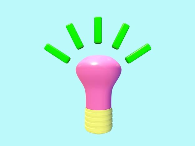 Ícone 3d de negócios na lâmpada de background.light de cor pastel.