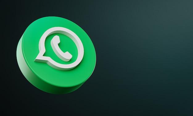 Ícone 3d do botão circular do whatsapp com espaço de cópia