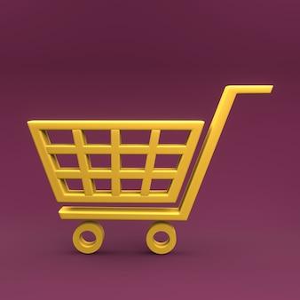 Ícone 3d do carrinho de compras. ícone 3d da cesta de compras de supermercado