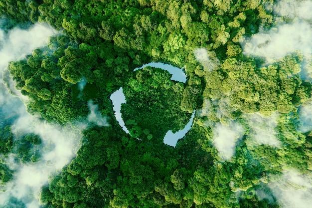 Ícone abstrato que representa a chamada ecológica para reciclar e reutilizar na forma de um lago com um símbolo de reciclagem no meio de uma bela selva intocada. renderização 3d.