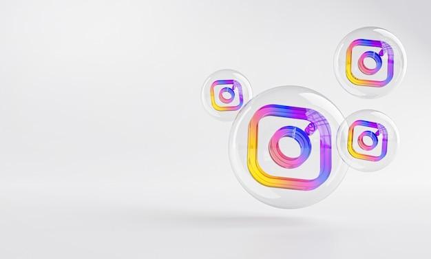 Ícone acrílico do instagram dentro do bubble glass copy space 3d