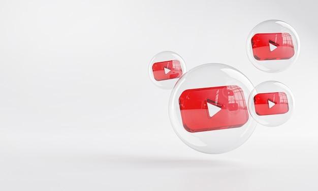 Ícone acrílico do youtube dentro do bubble glass copy space 3d
