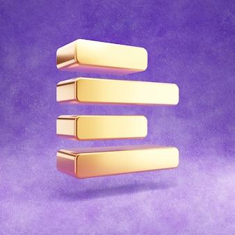 Ícone alinhar à esquerda dourado isolado em veludo violeta