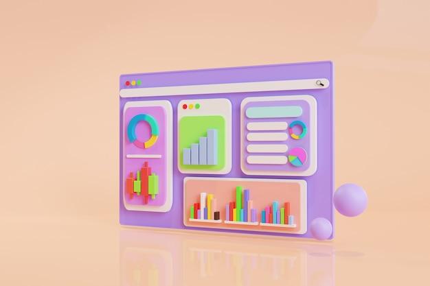 Ícone, análise de dados, painel de gráficos e relatório de finanças de negócios. investimento ou conceito de seo do site do mercado de ações. ilustrações 3d.
