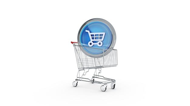 Ícone brilhante de comércio eletrônico com carrinho de compras renderização em 3d