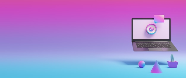 Ícone colorido do mensageiro na tela do laptop renderizada em 3d