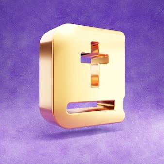 Ícone da bíblia isolado em veludo violeta
