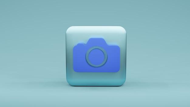 Ícone da câmera em formato quadrado, renderização em 3d