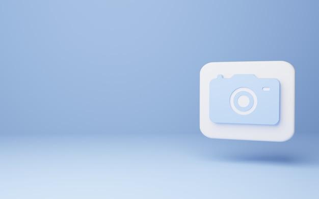 Ícone da câmera no conceito mínimo de fundo azul. Foto Premium