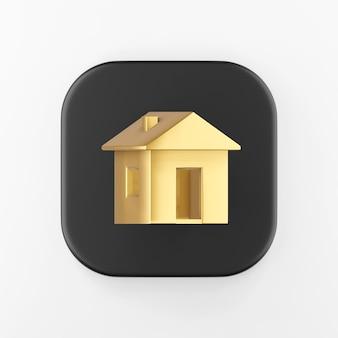 Ícone da casa dourada. botão chave quadrado preto de renderização 3d, elemento interface ui ux.