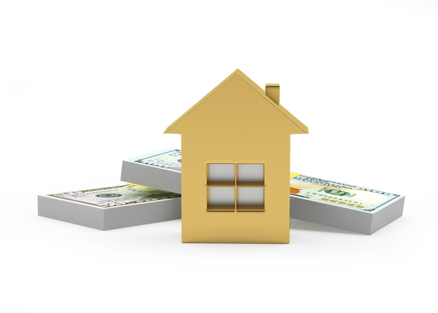 Ícone da casa dourada e maços de notas de dólar