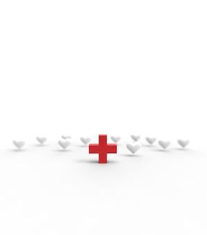 Ícone da cruz vermelha e corações em fundo branco. renderização 3d