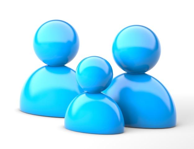 Ícone da família em azul. pai, mãe e filho. renderização 3d.