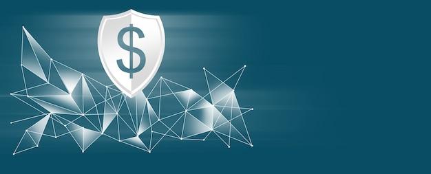 Ícone da rede financeira. rede de dólar sobre fundo azul.