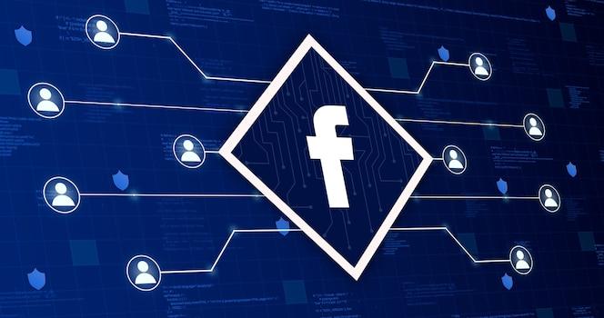 Ícone da rede social do facebook conectando o sistema com outros usuários em um fundo tecnológico com elementos de código 3d