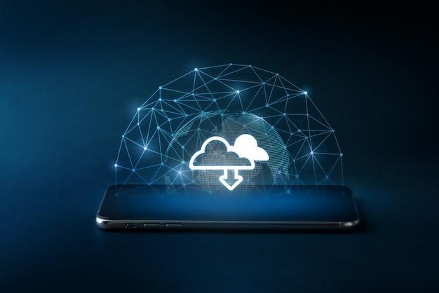 Ícone da tecnologia de nuvem no smartphone