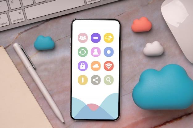 Ícone da tecnologia de nuvem no telefone inteligente para compras on-line