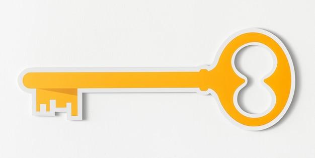 Ícone de acesso de segurança de chave dourada