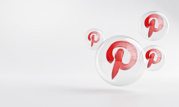 Ícone de acrílico do pinterest dentro do vidro bolha copy space 3d