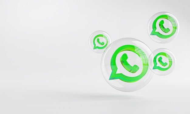 Ícone de acrílico do whatsapp dentro do bubble glass copy space 3d