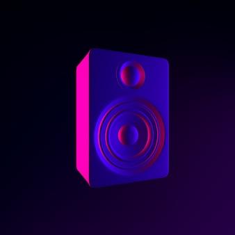 Ícone de alto-falante de néon. elemento de interface ui ux de renderização 3d. símbolo escuro e brilhante.