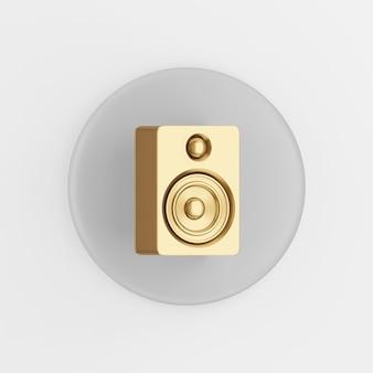 Ícone de alto-falante de ouro. botão chave redondo cinza de renderização 3d, elemento interface ui ux.