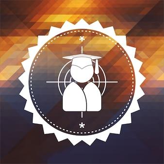 Ícone de alvo com silhueta humana em chapéu de formatura. design de rótulo retrô. fundo de hipster feito de triângulos, efeito de fluxo de cor.