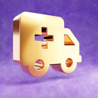 Ícone de ambulância dourado isolado em veludo violeta