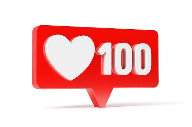 Ícone de amor e gosto da rede de mídia social, 100 curtidas