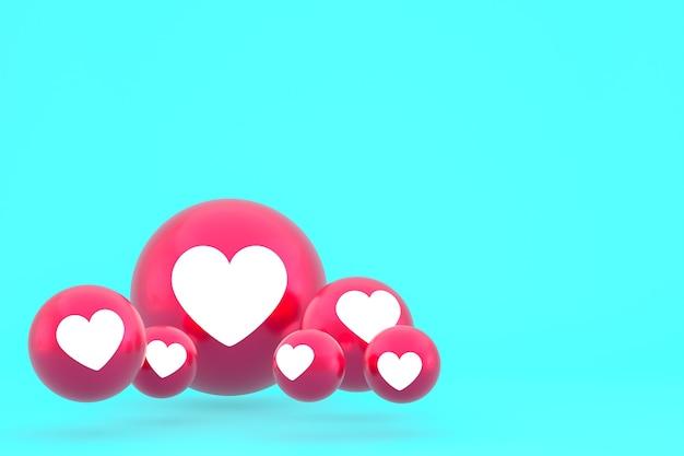 Ícone de amor emoji de reações do facebook render, símbolo de balão de mídia social em fundo azul