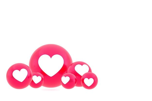 Ícone de amor emoji de reações do facebook render, símbolo de balão de mídia social em fundo branco