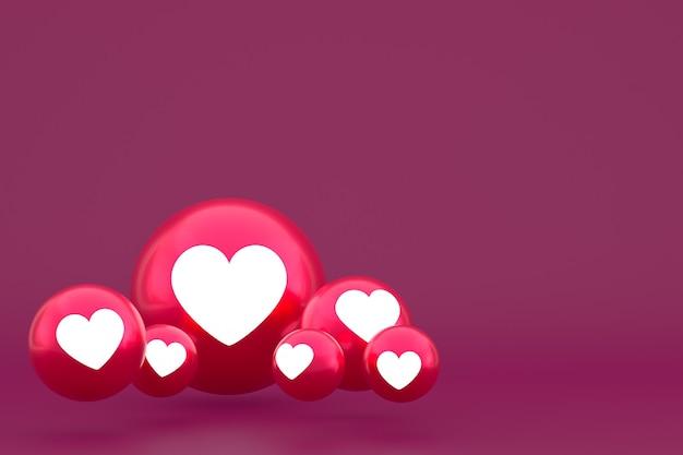 Ícone de amor emoji de reações do facebook render, símbolo de balão de mídia social em fundo vermelho