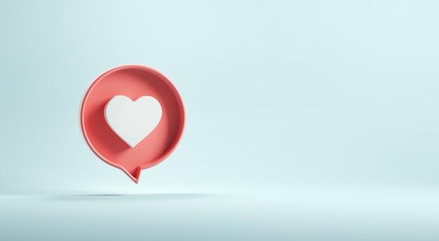 Ícone de amor ou coração no fundo azul